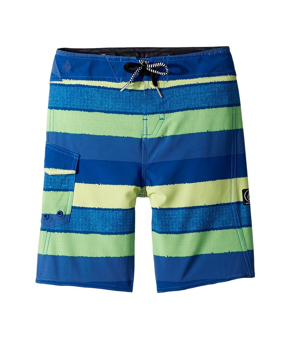 Volcom Kids - Magnetic Liney Mod Boardshorts (Toddler/Little Kids) (Shadow Lime) Boys Swimwear