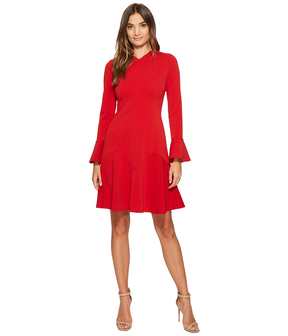 Maggy London New Castle Knit Long Sleeve Fit Flare Dress (Red) Women
