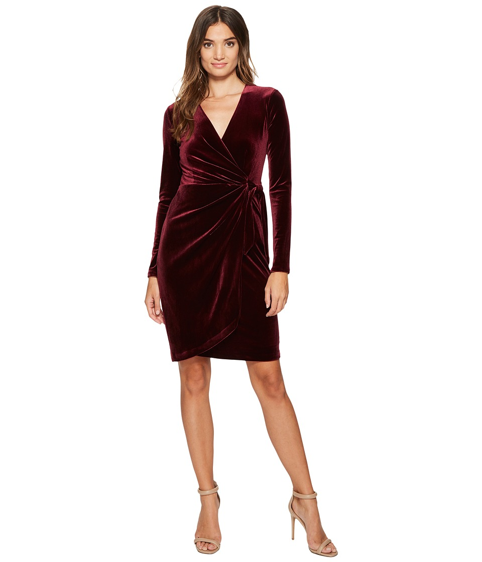 Maggy London Velvet Wrap Dress (Wine) Women