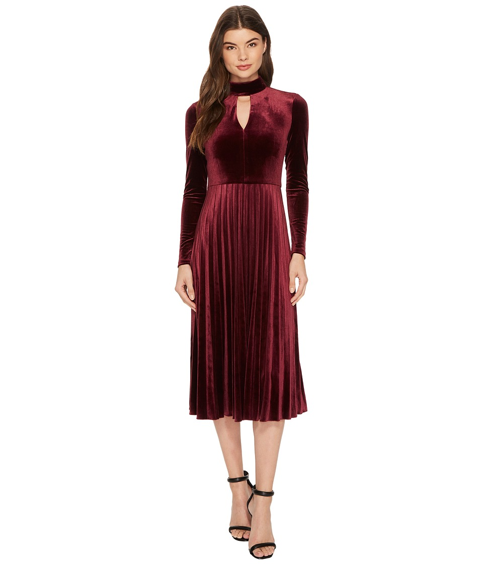 Maggy London Pleated Velvet Fit Flare with Turtleneck Detail (Wine) Women