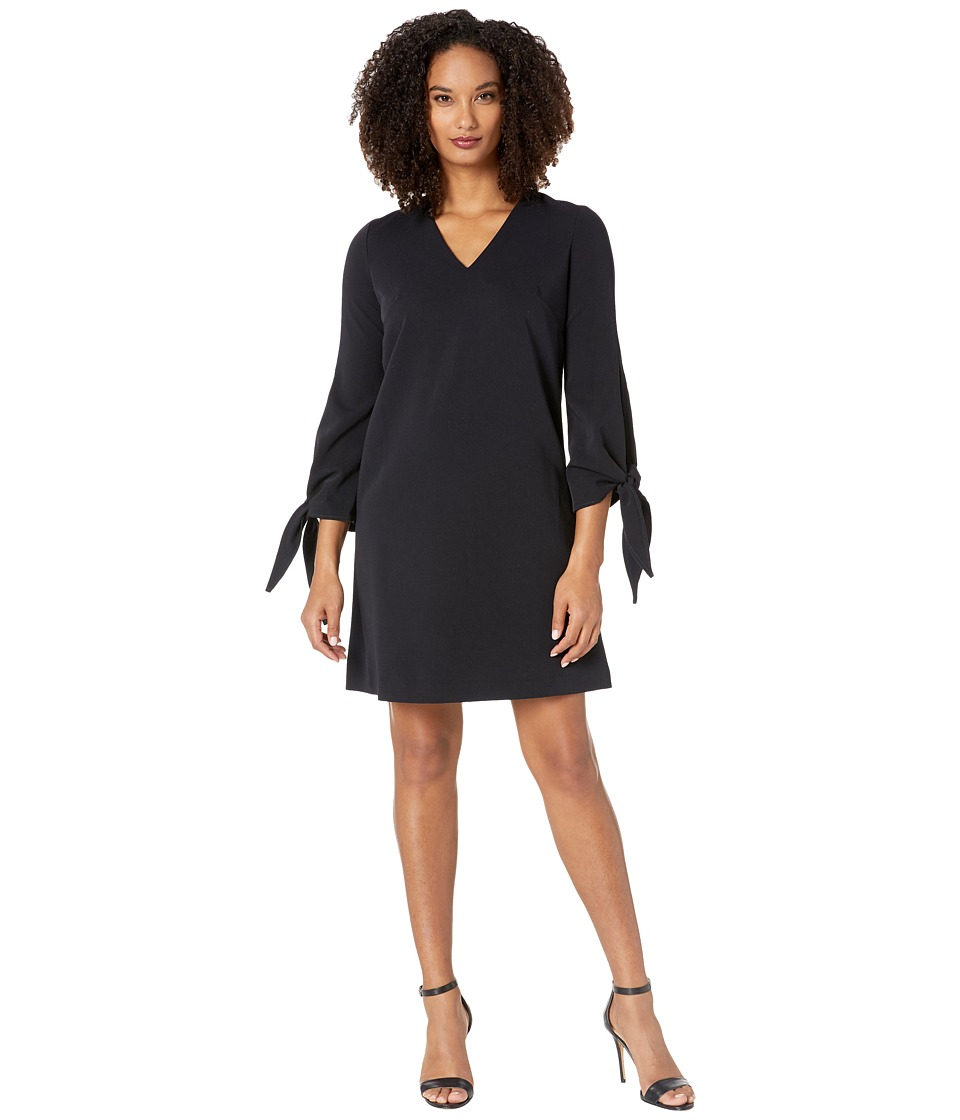 Maggy London Tent Dress with Long Flare Cuffs and Tie Detail (Navy) Women