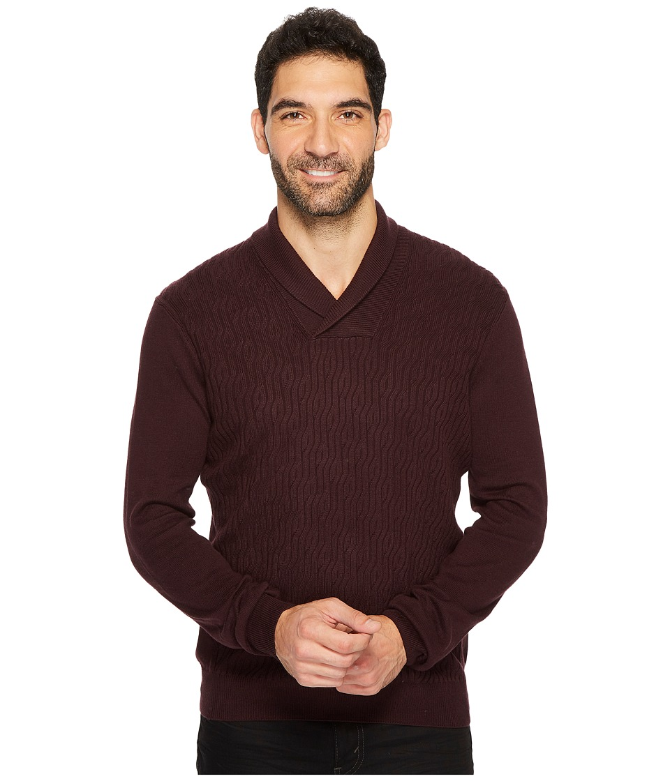 Perry Ellis Cable Shawl Pullover Sweater (Port) Men