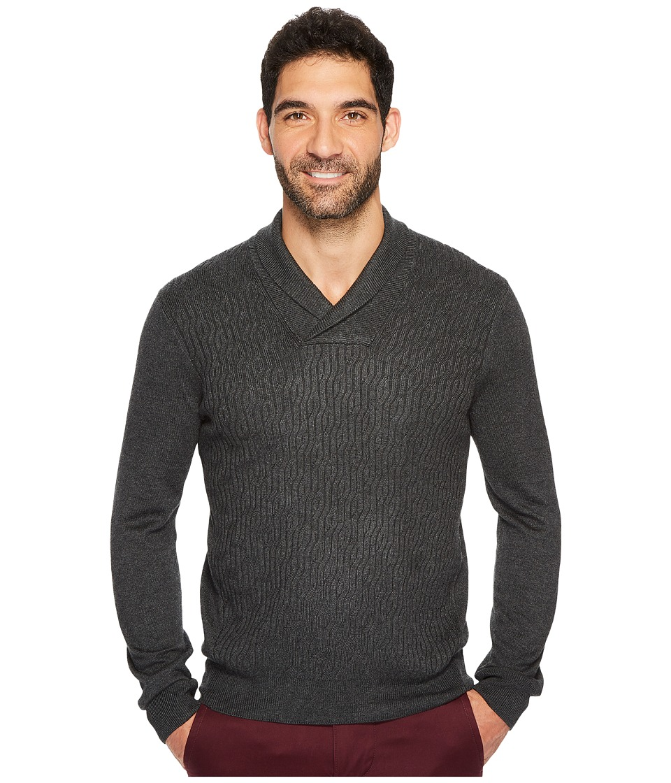 Perry Ellis Cable Shawl Pullover Sweater (Charcoal Heather) Men