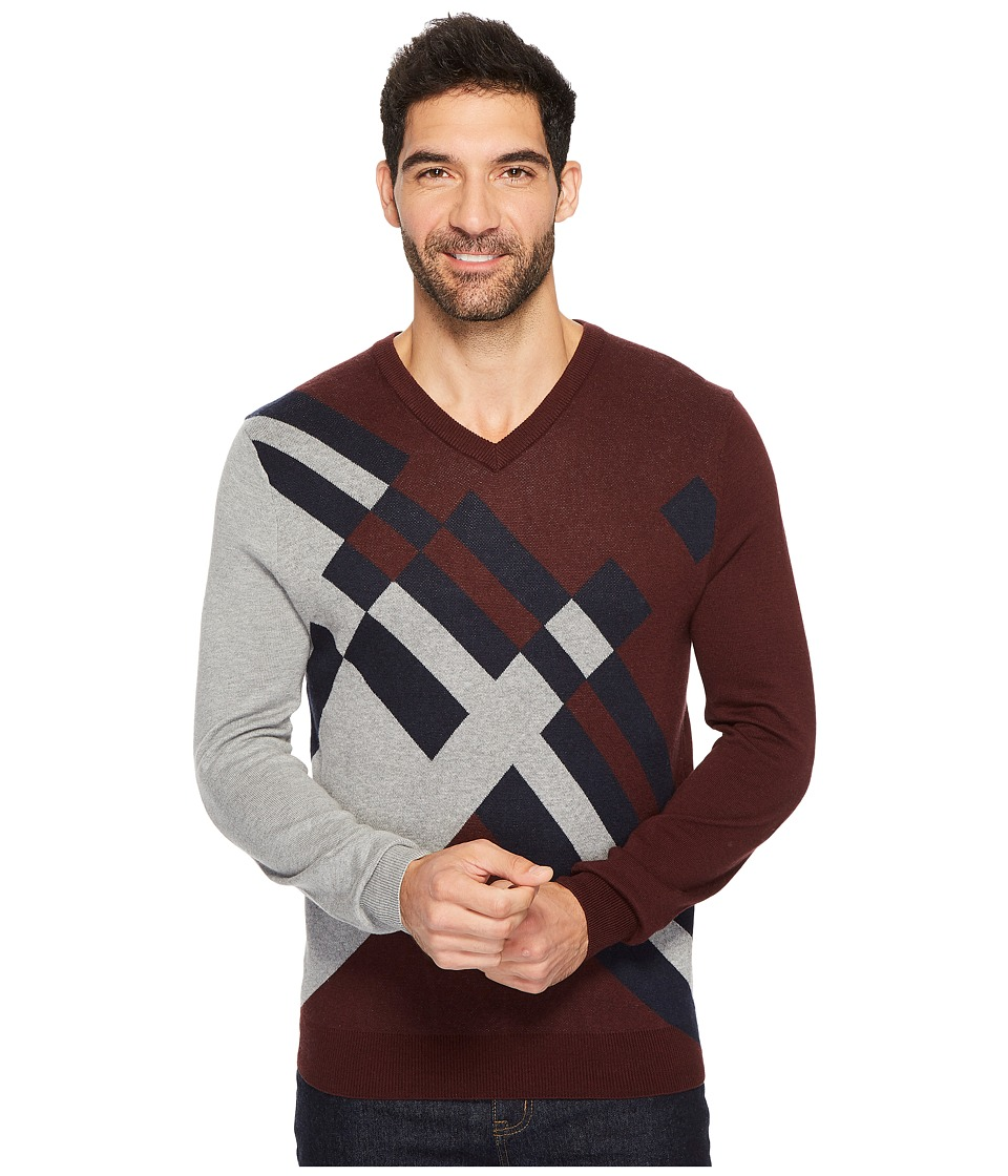 Perry Ellis Modern V-Neck Sweater (Royal Black Cherry) Men