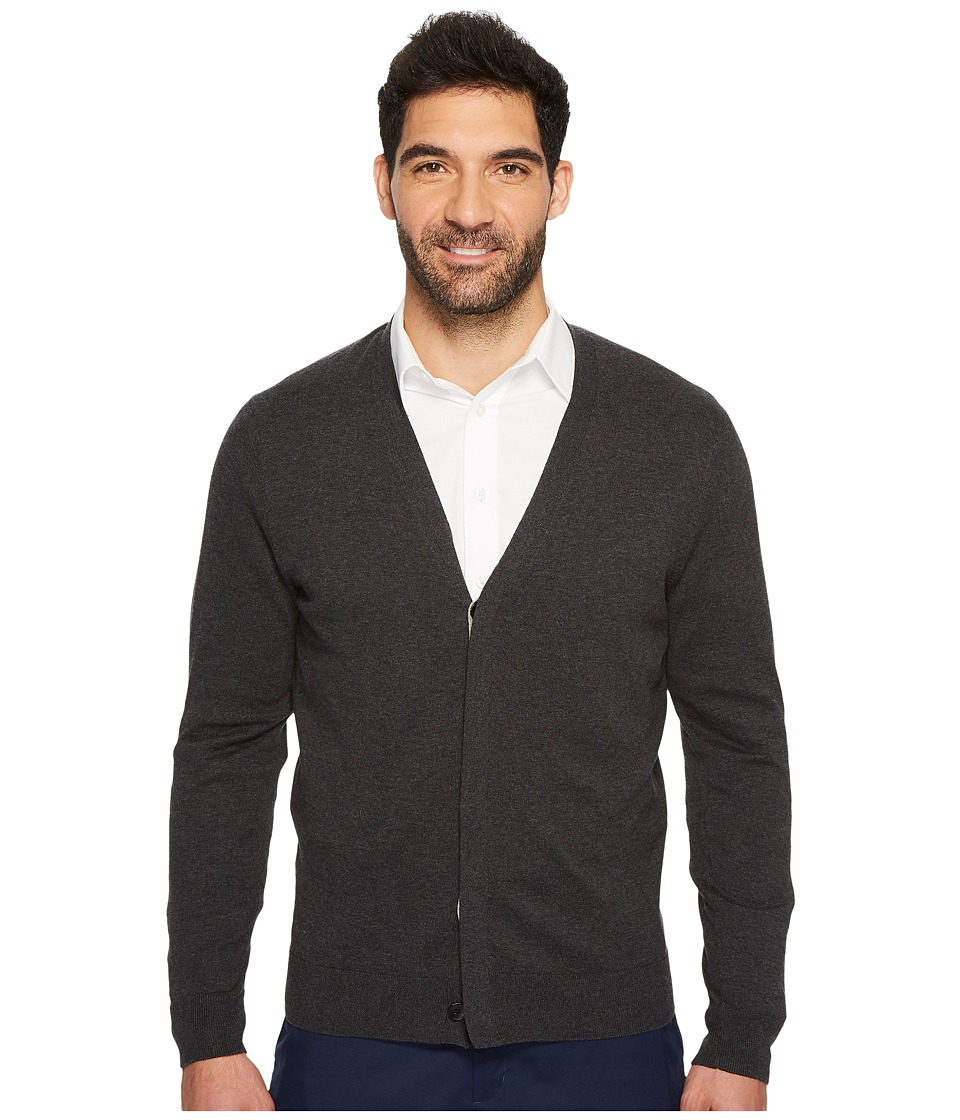 Perry Ellis Plaited Cardigan Sweater (Charcoal Heather) Men