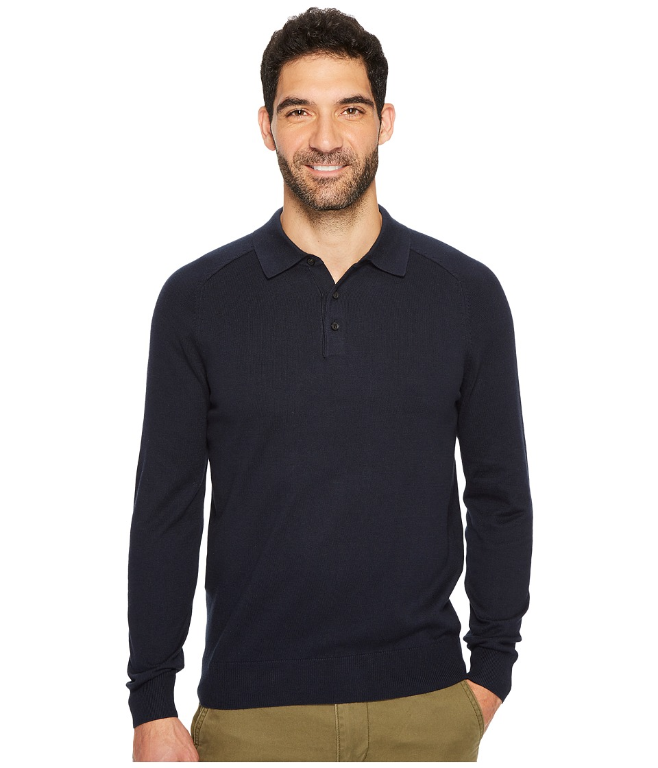 Perry Ellis Solid Polo Sweater (Dark Sapphire) Men