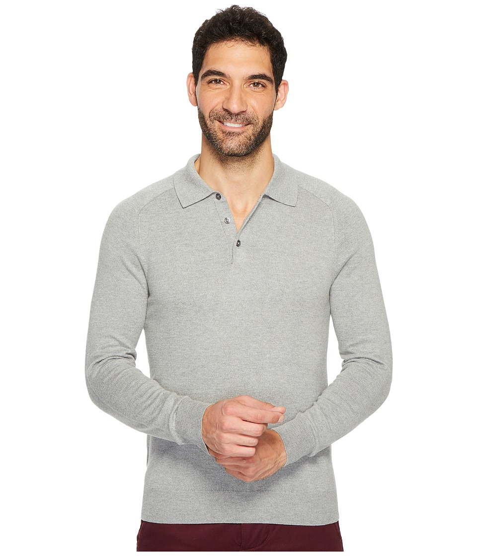 Perry Ellis Solid Polo Sweater (Smoke Heather) Men