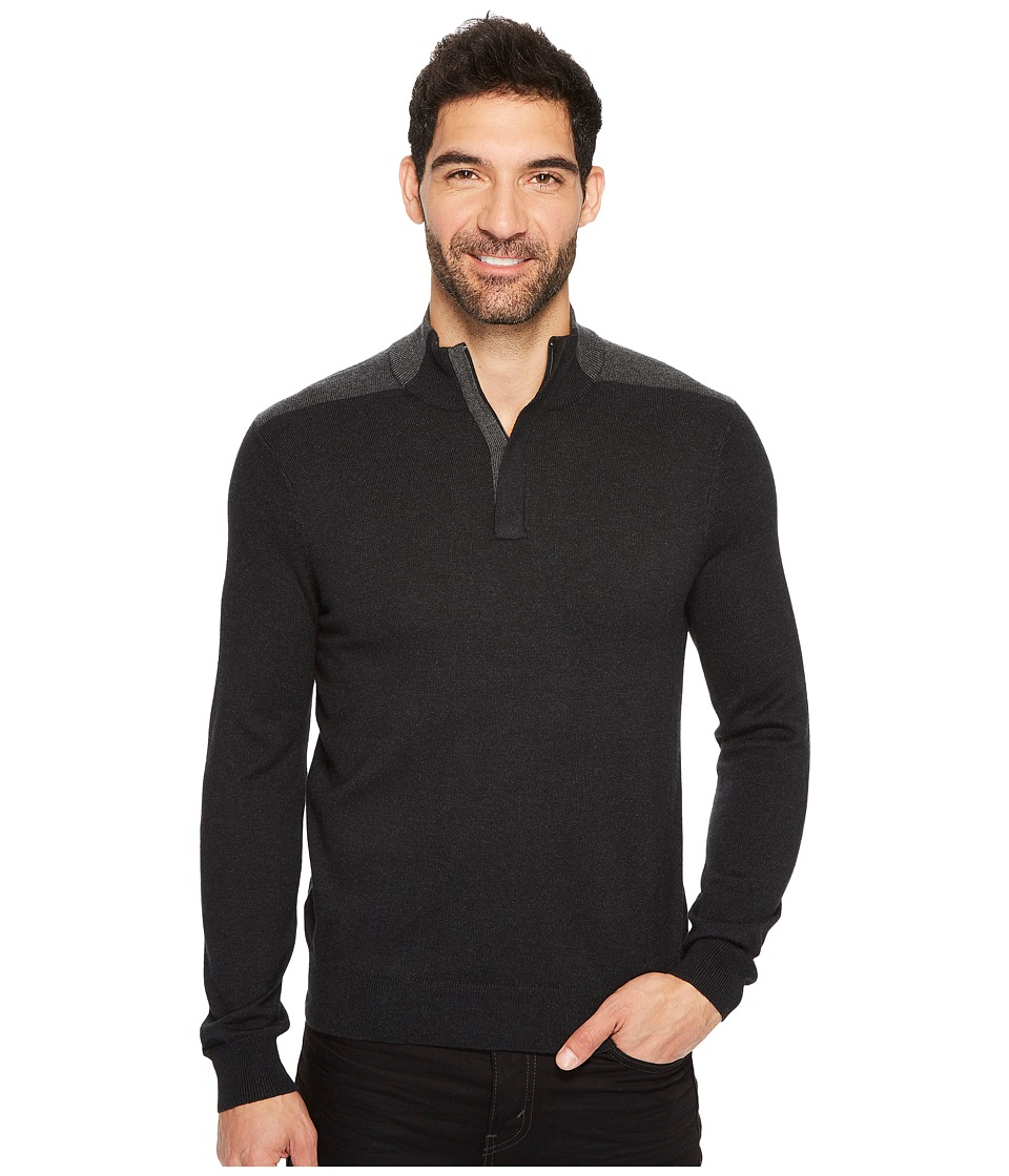 Perry Ellis Color Block Quarter Zip Sweater (Black Heather) Men