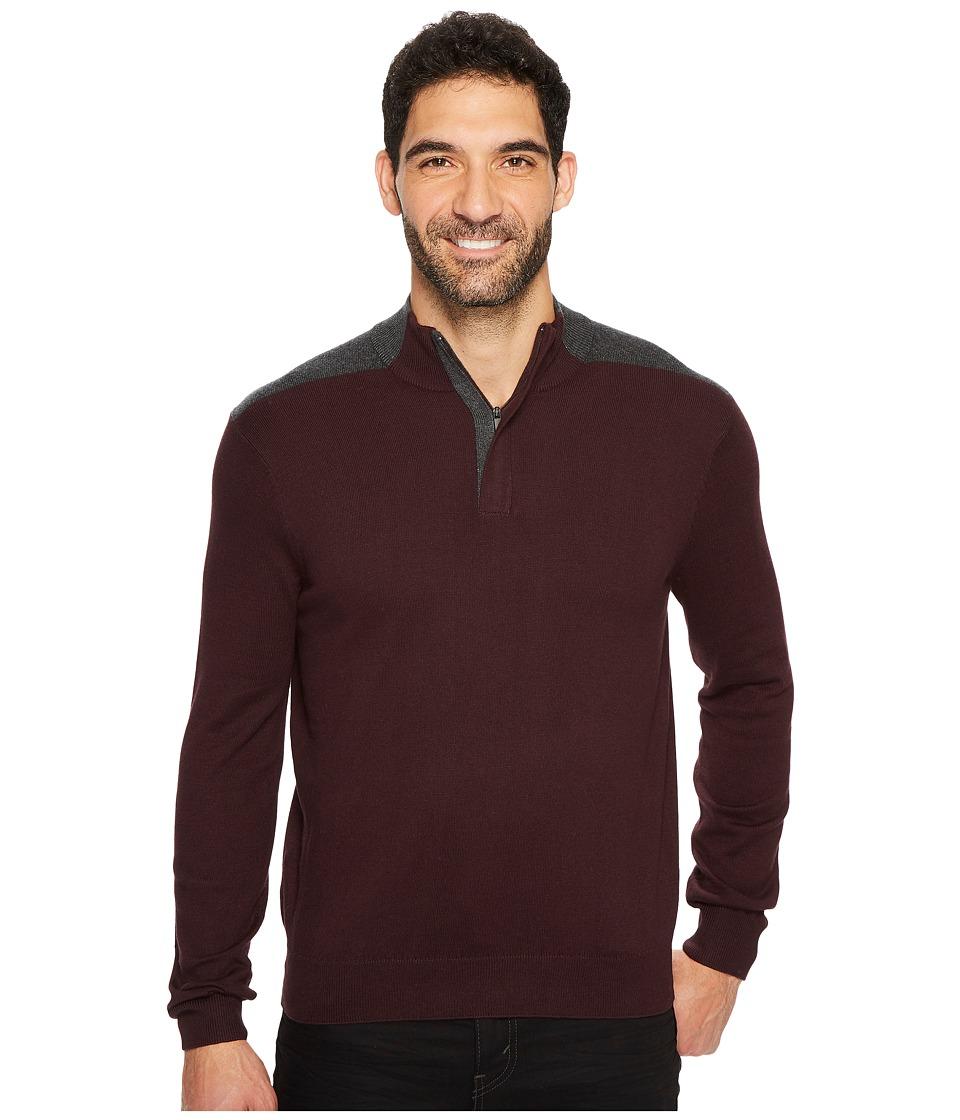 Perry Ellis - Color Block Quarter Zip Sweater