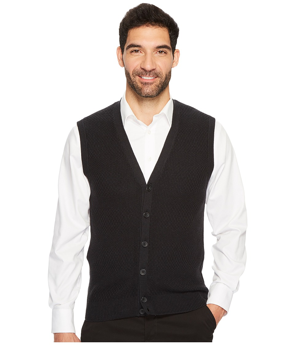 Perry Ellis Solid Textured Button Front Sweater Vest (Black Heather) Men