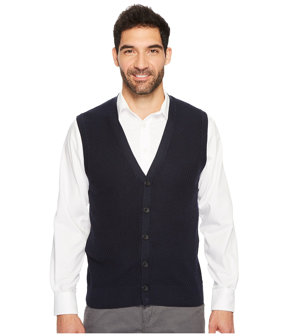 Perry Ellis Solid Textured Button Front Sweater Vest (Dark Sapphire) Men