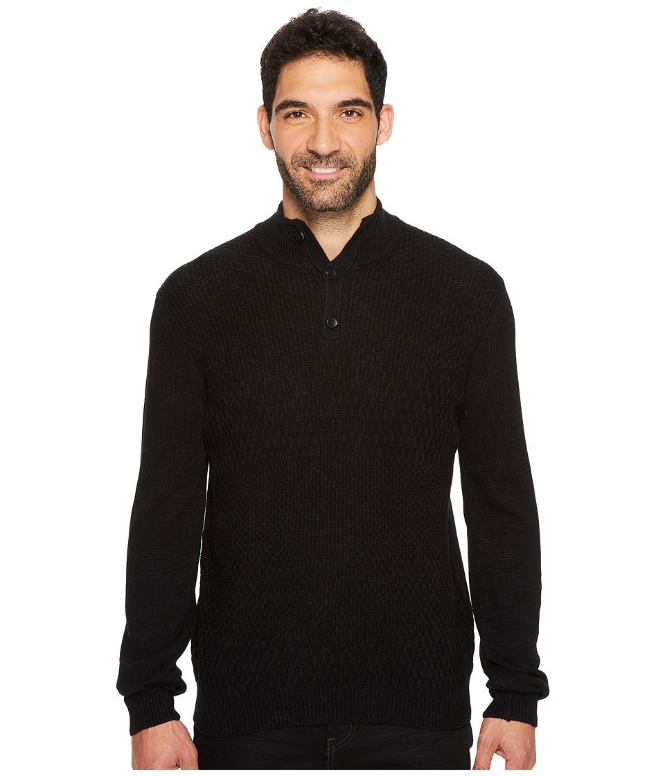 Perry Ellis Solid Textured Mock Neck Sweater (Black) Men