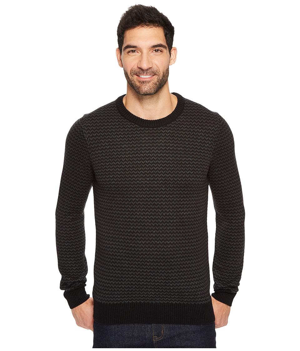Perry Ellis Herringbone Crew Neck Sweater (Black) Men