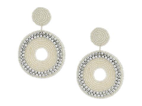 Kenneth Jay Lane Seedbead Circle Drop Direct Post Earrings - Silver