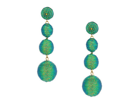 Kenneth Jay Lane 3 Green Thread Small To Large Wrapped Ball Pierced Earrrings W/ Dome Top - Green