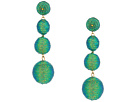 Kenneth Jay Lane 3 Green Thread Small To Large Wrapped Ball Pierced Earrrings W/ Dome Top
