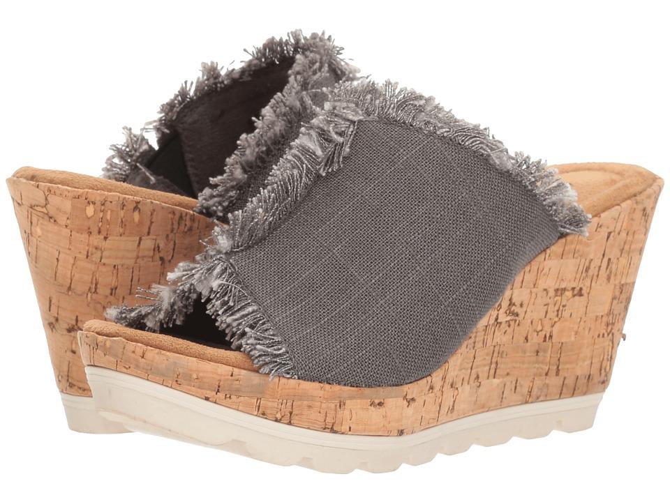 Minnetonka - York (Grey Linen) Womens Wedge Shoes
