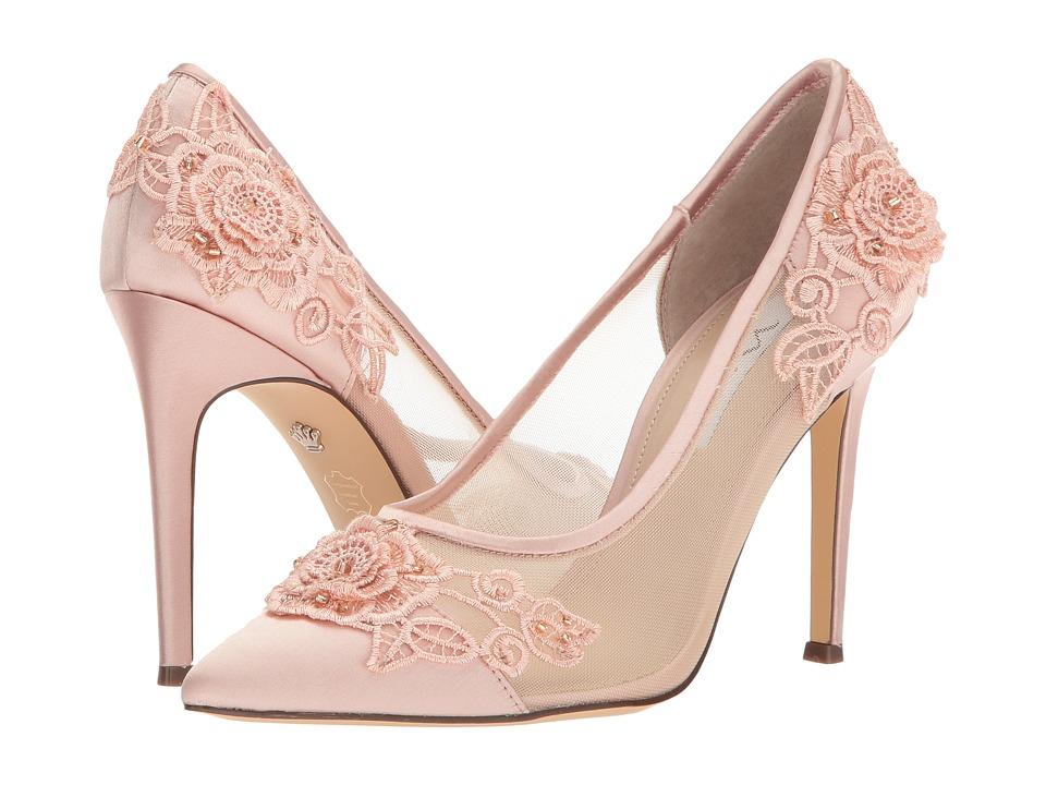 Nina Donela (Blush Crystal Satin/Rose Applique/Mesh) High Heels