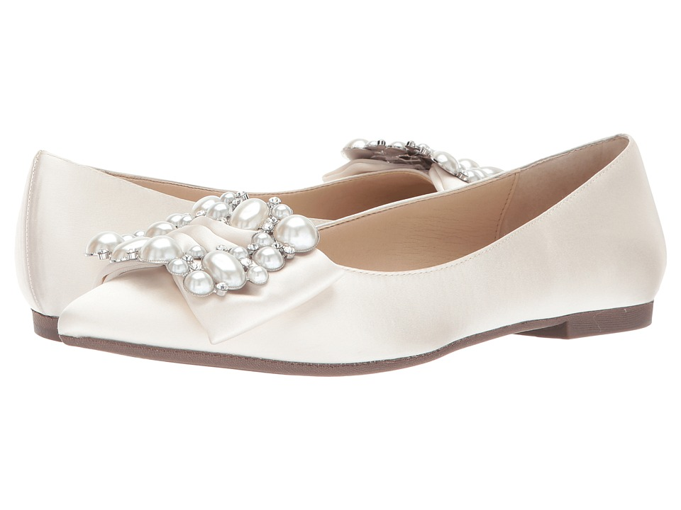 Nina-Klea  (Ivory Crystal Satin) Womens Flat Shoes