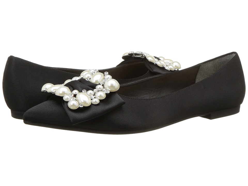 Nina-Klea  (Black Luster Satin) Womens Flat Shoes