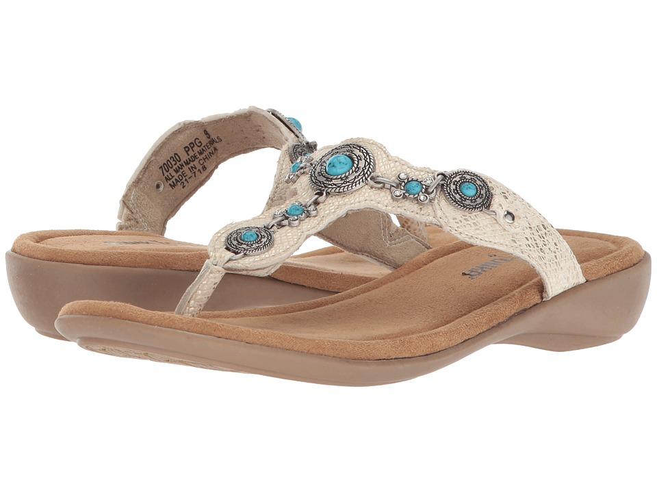 Minnetonka - Boca Thong III (Gold Python Print PU) Womens Sandals