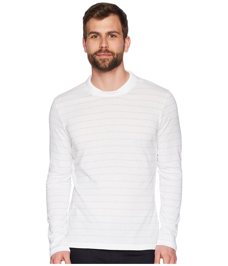 eleventy - Long Sleeve Johnny Collar Polo (White/Grey) Mens Short Sleeve Pullover