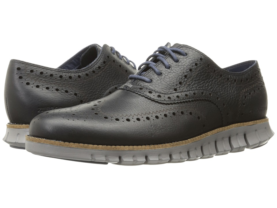 Cole Haan - Zerogrand Wing Ox (Navy Ink Leather Closed/Ironstone) Mens Lace Up Wing Tip Shoes