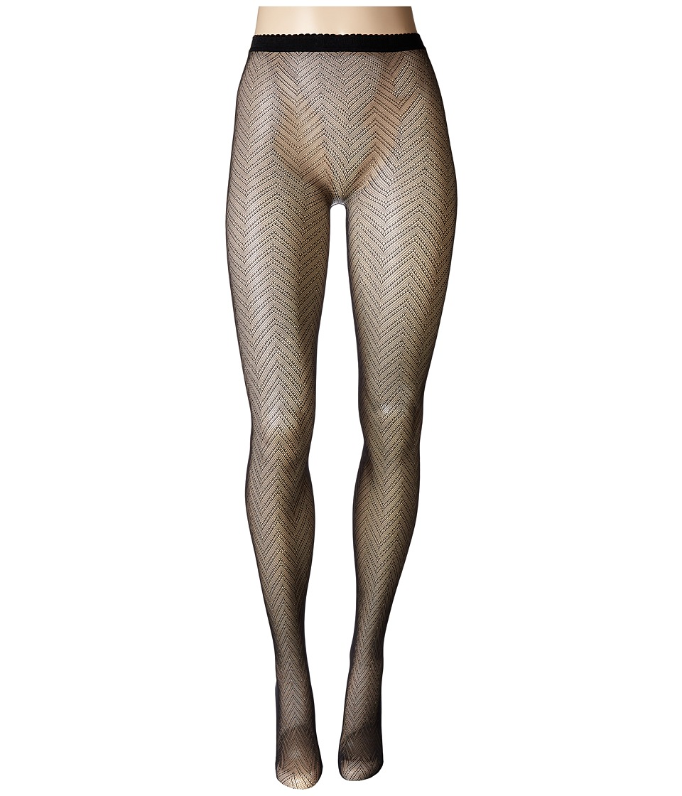 Natori - Herringbone Net Tights (Black) Hose
