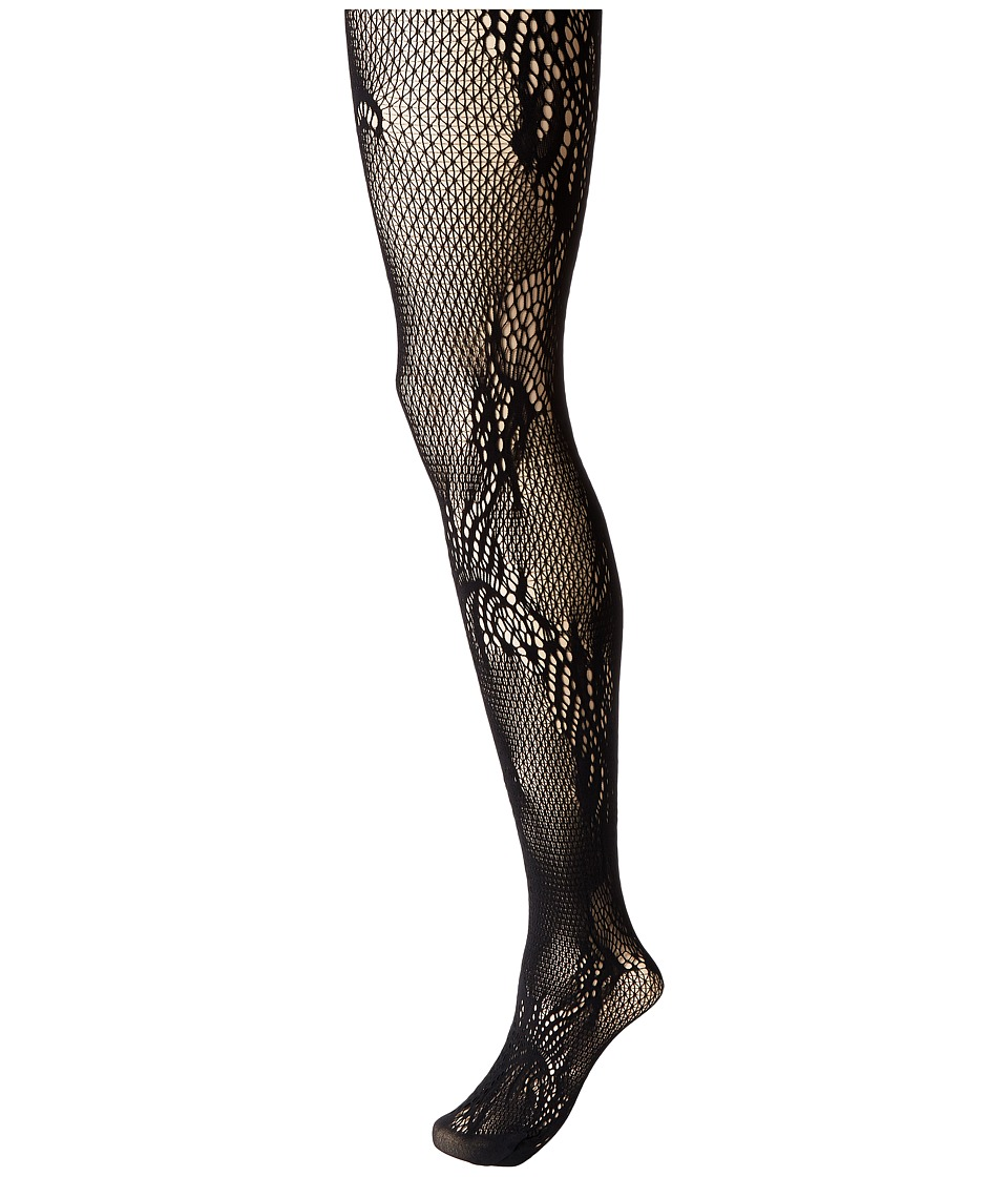 Natori - Feather Lace Net Tights (Black) Hose