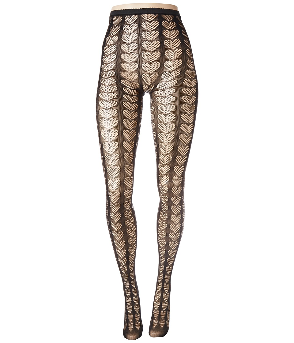 Image of Betsey Johnson - 1-Pack Heart Openwork Tights (Black) Hose