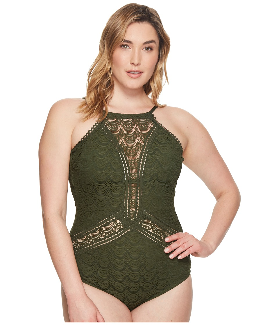 BECCA by Rebecca Virtue - Plus Size Color Play High Neck One-Piece (Bay Leaf) Womens Swimsuits One Piece