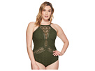 BECCA by Rebecca Virtue Plus Size Color Play High Neck One-Piece
