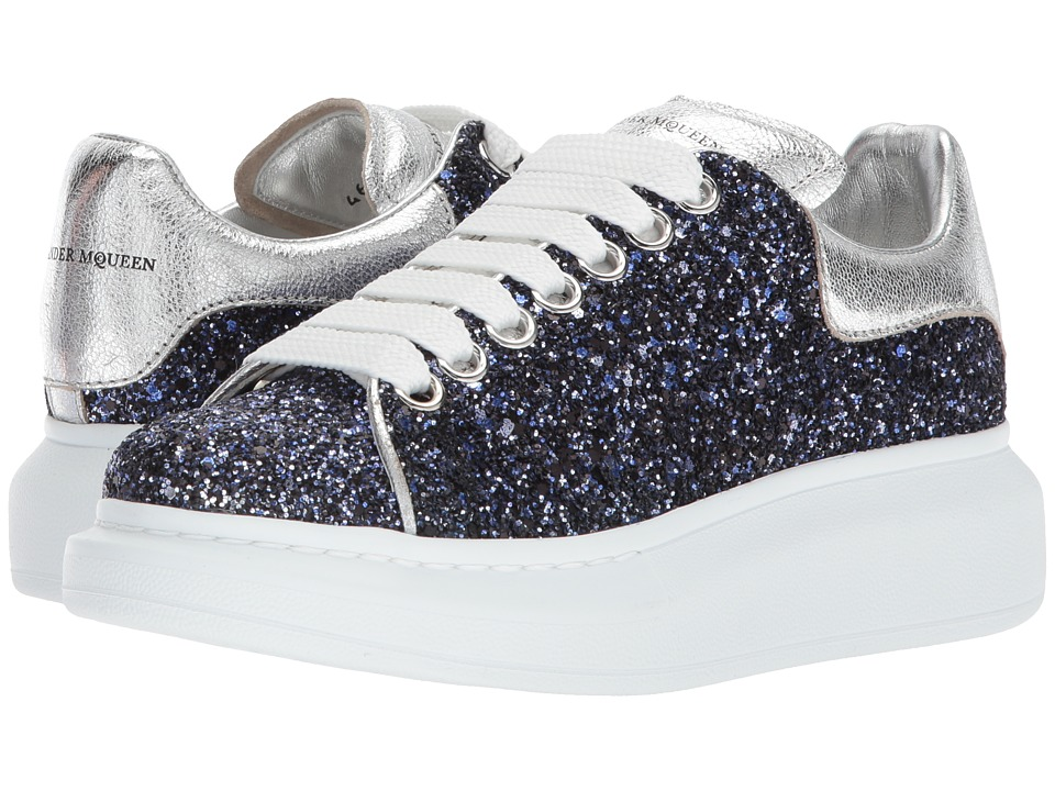 Alexander McQueen - Oversized Sneaker (Midnight Blue/Silver) Womens Lace up casual Shoes
