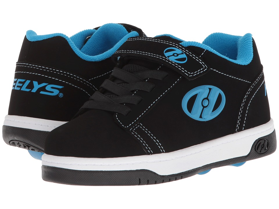 Heelys Dual Up x2 (Little Kid/Big Kid) (Black/Cyan/White) Boys Shoes