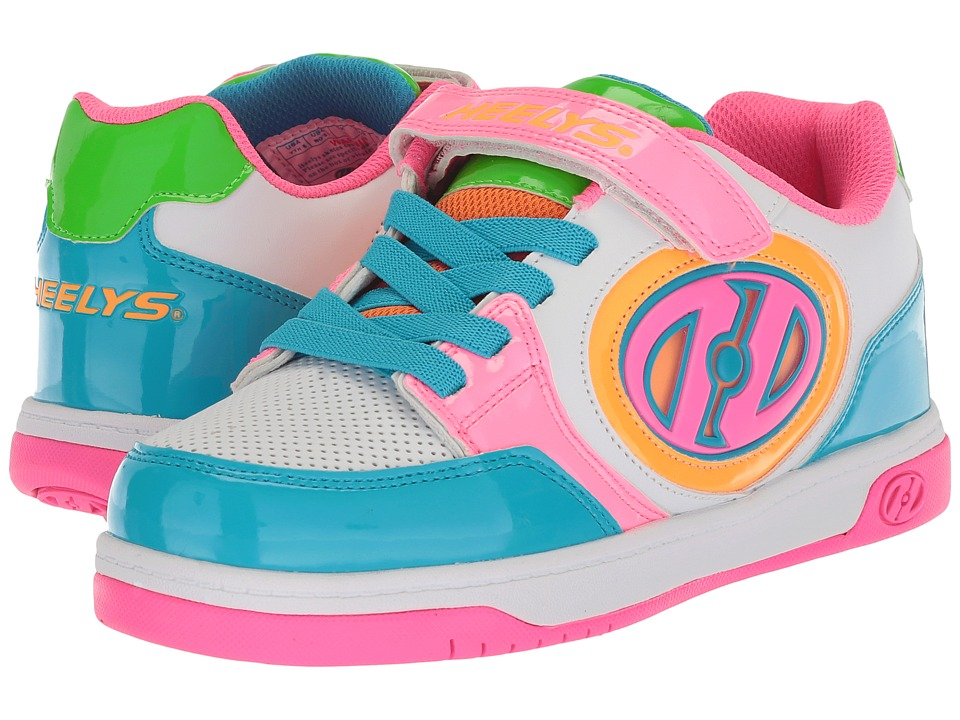 Heelys - Plus X2 Lighted (Little Kid/Big Kid) (White/Neon Multi) Girls Shoes