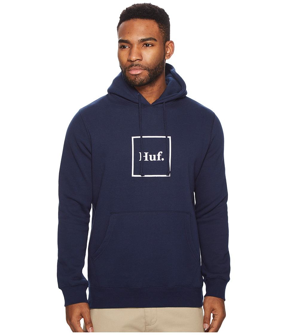 HUF Outline Box Logo Pullover Hoodie (Navy) Men