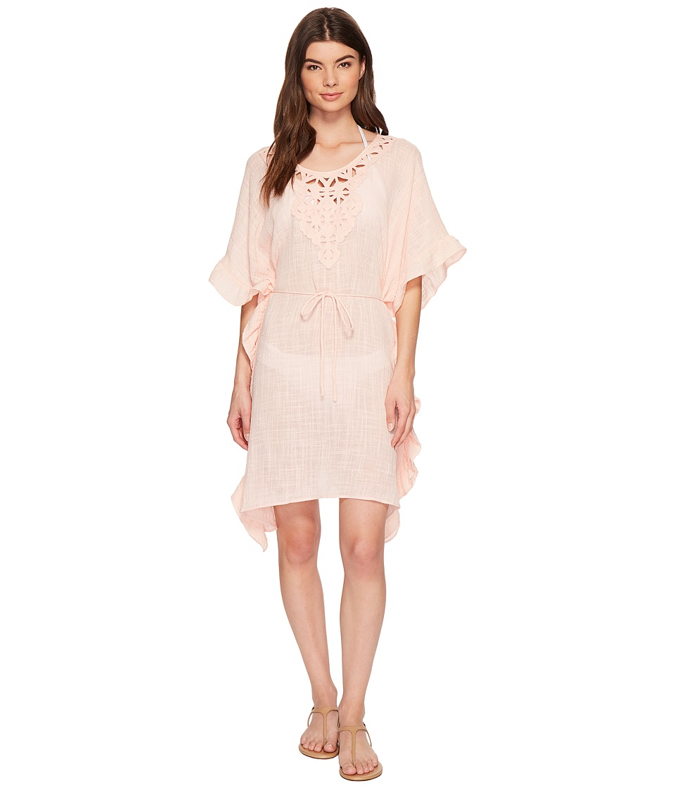 Seafolly Palm Beach Geo Lace Ruffled Kaftan Cover-Up (Peach Melba)