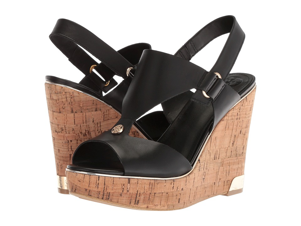 GUESS - Hulda (Black Leather) Womens Wedge Shoes