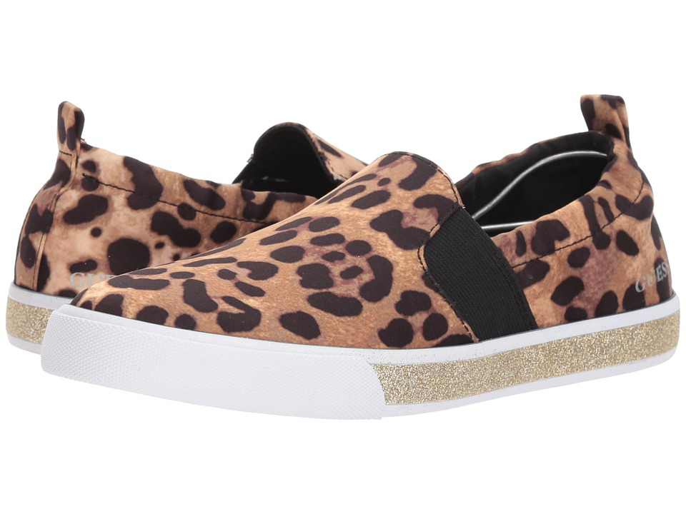 GUESS - Maxwell (Brown Multi Fabric) Womens Slip on  Shoes