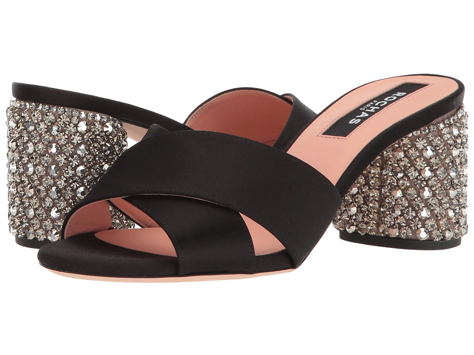 Rochas - RO30072-07045 (Raso Nero/Ricamo Silver) High Heels