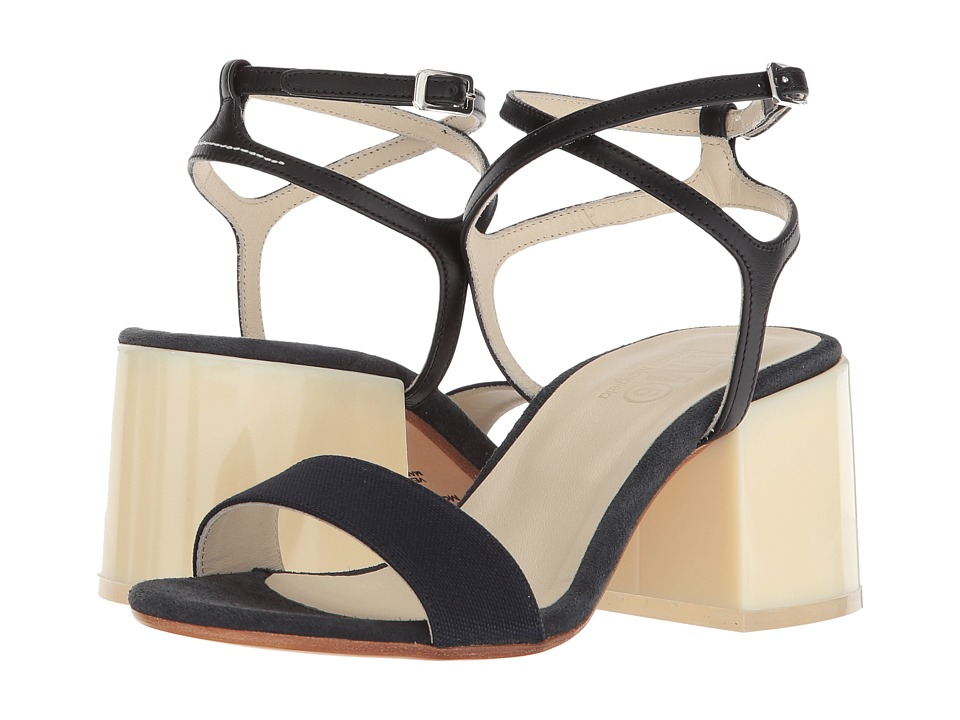 MM6 Maison Margiela - Mixed Material Sandal (Navy/Black/Dark Grey) Women's Sandals