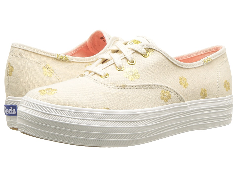 Keds - Triple Hibiscus (Natural/Gold) Womens Lace up casual Shoes