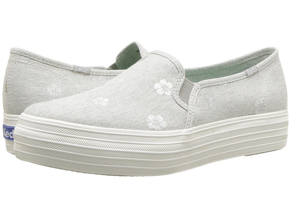 Keds - Triple Decker Hibiscus (Light Gray) Womens Slip on  Shoes