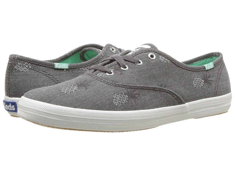 Keds - Champion Pineapple Chambray (Gray) Womens Lace up casual Shoes
