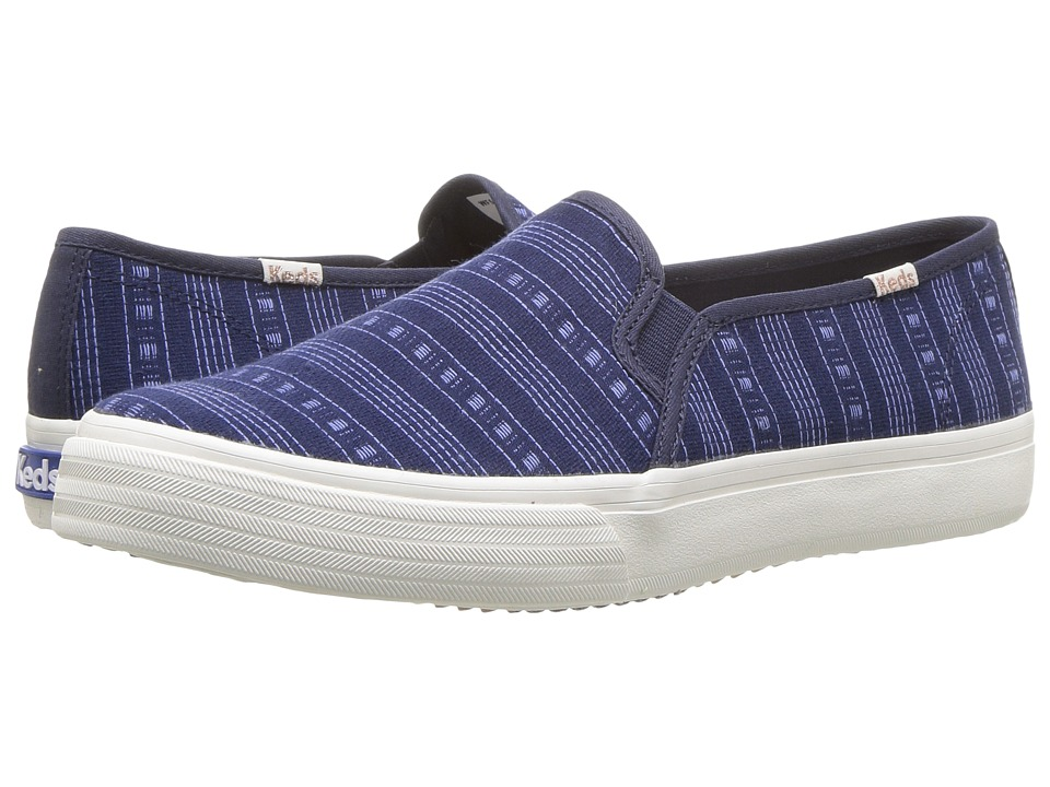 Keds - Double Decker Summer Stripe (Navy) Womens Slip on  Shoes