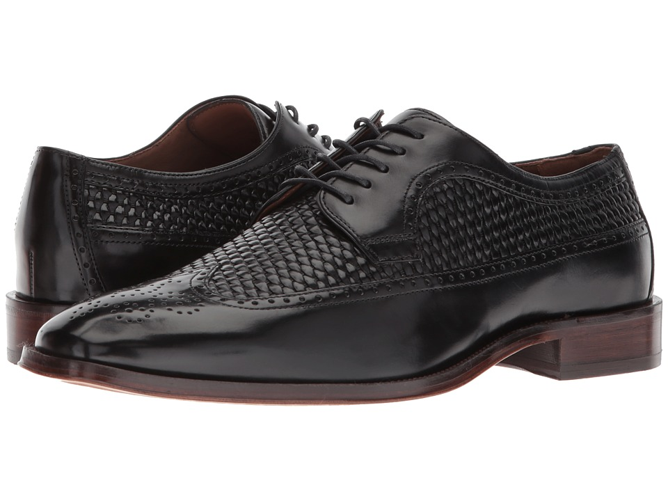 1940s Mens Clothing Johnston amp Murphy - Boydstun Woven Wingtip Black Italian Calfskin Mens Lace Up Wing Tip Shoes $228.95 AT vintagedancer.com