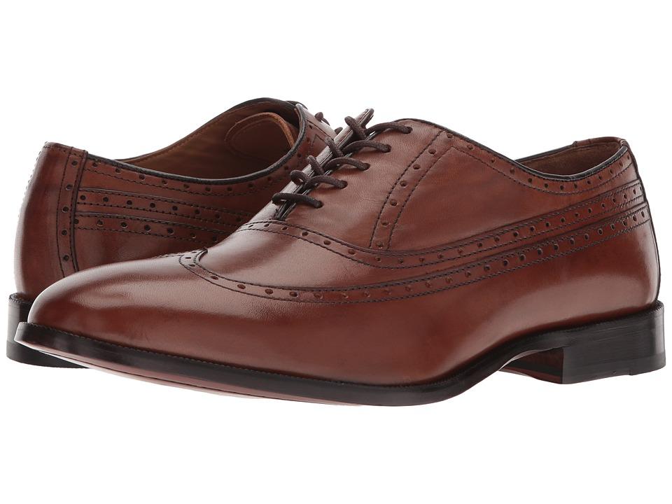 Johnston & Murphy - Bradford Wingtip (Tan Calfskin) Mens Lace Up Wing Tip Shoes