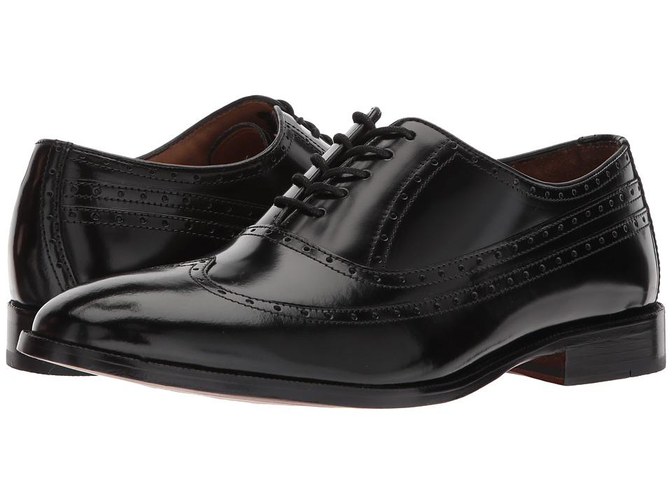 1920s Style Mens Shoes | Peaky Blinders Boots Johnston amp Murphy - Bradford Wingtip Black Calfskin Mens Lace Up Wing Tip Shoes $129.95 AT vintagedancer.com