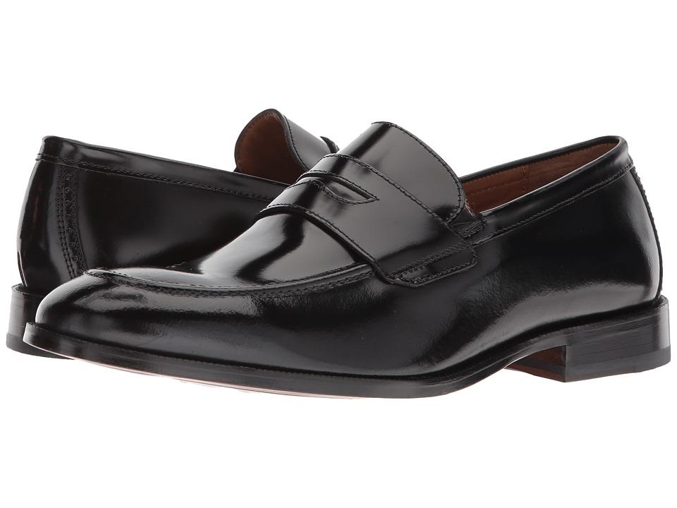 Johnston & Murphy - Bradford Penny (Black Brush-Off) Mens Slip-on Dress Shoes