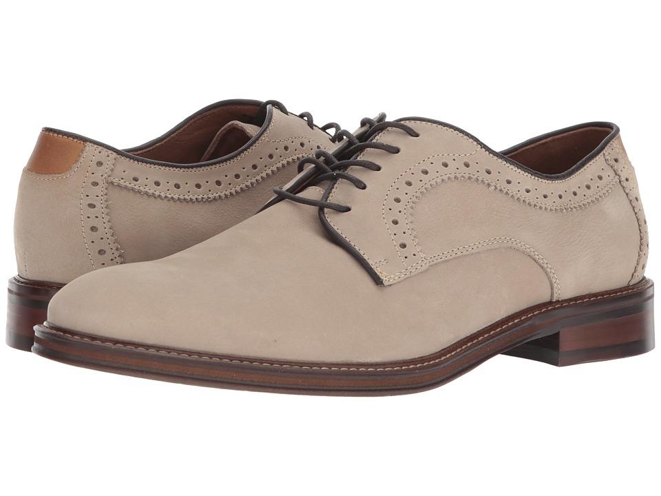 Johnston & Murphy - Warner Plain Toe (Beige Water-Resistant Tumbled Nubuck) Mens Plain Toe Shoes